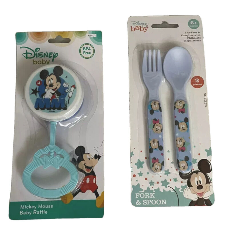 NIB Disney Baby Mickey Mouse Fork, Spoon & Rattle 3pc. Set BPA Free Blue