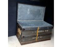 ANTIQUE WW2 ARMY TRUNK COFFEE TABLE