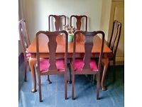 antique table with 6 chairs - REDUCED