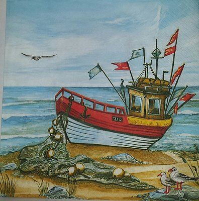 4 x Single Paper Napkins Boat Ship Sea for Decoupage and Crafting 5