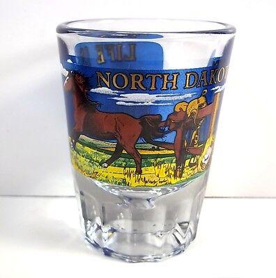 North Dakota heavy shot glass wraparound horses decal Life is short Ride hard