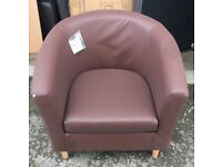 BROWN FAUX LEATHER TUB CHAIR ARMCHAIR NEW WITH SCUFF ON EDGE SEE PICTURE WSM BRAND NEW CLEARANCE