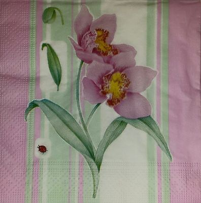 4 x Single  Paper Napkins Pink Flowers for DECOUPAGE  CRAFT -1