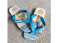 Childrens Flip Flops - Sandals. Havaianas Minion Flip Flops. Size 29/30...18cm