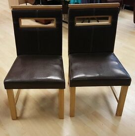 2 Brown Wood Chairs