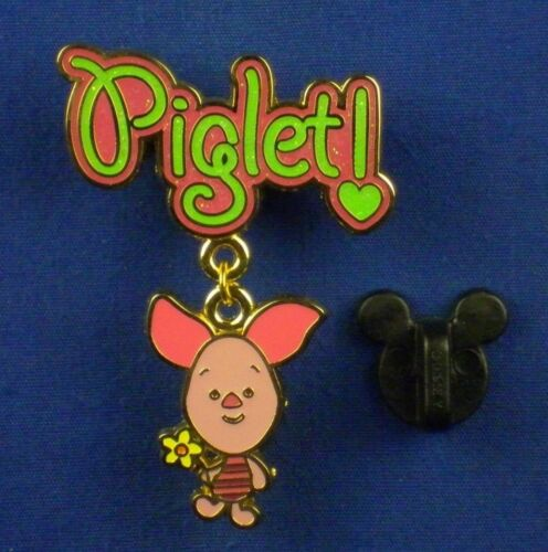 Piglet Cuties Character Dangle Holding a Flower Pin # 48672