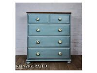 Refurbished Solid Pine Chest of Drawers in Annie Sloan Duck Egg Blue