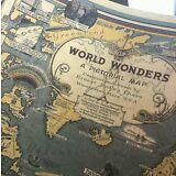 Vintage World Map Great Building Retro Maps