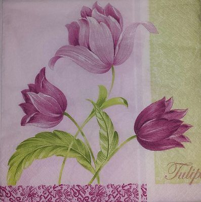 4 x Single  Paper  Napkins PINK Flowers for DECOUPAGE and CRAFTING-9