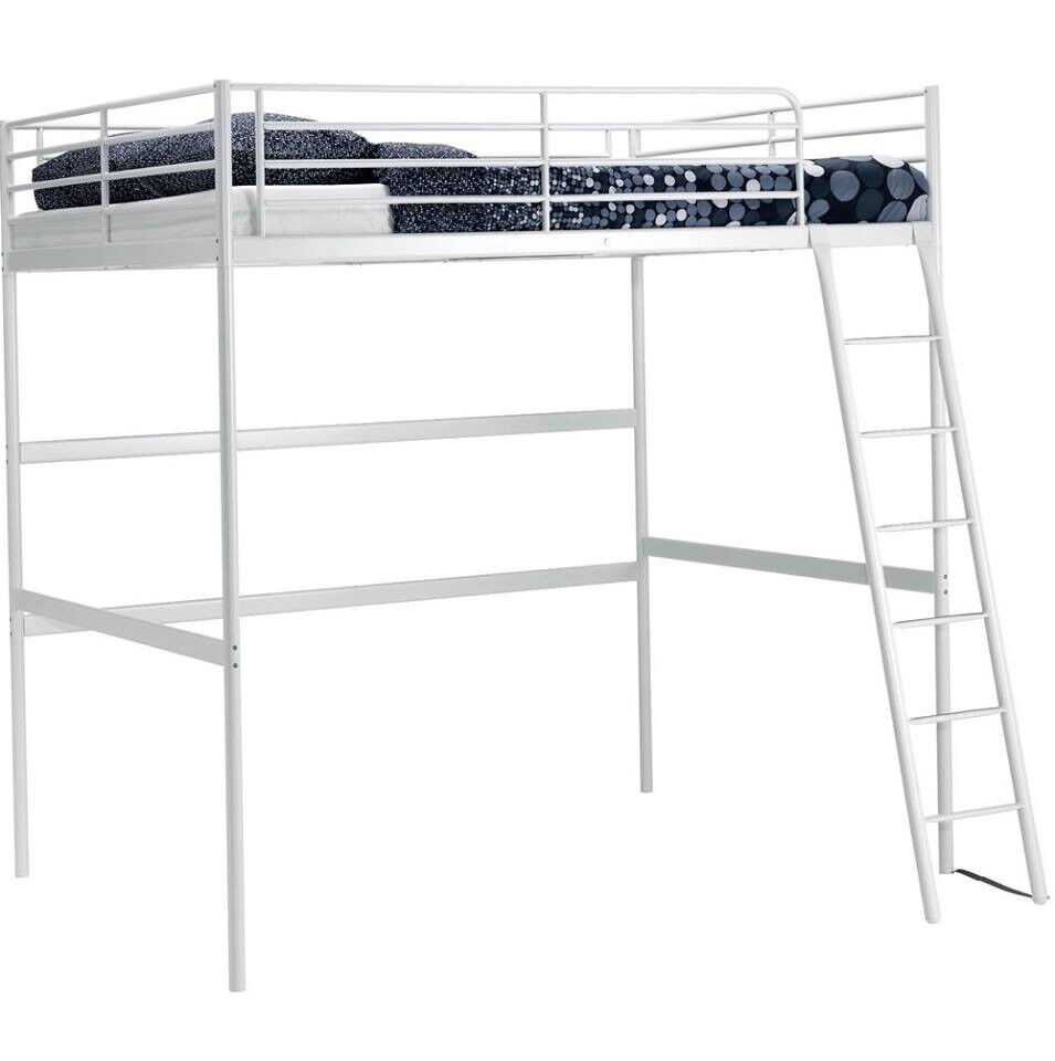 ikea tromso white metal double loft bed high sleeper bed with mattress in southampton. Black Bedroom Furniture Sets. Home Design Ideas