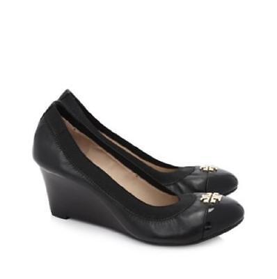 Tory Burch Women's Jolie Leather Cap Toe Wedge Pump Black Size 8 NIB