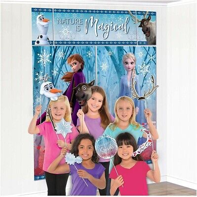 Birthday Wall Decorations (Frozen 2 Birthday Party Scene Setter Wall Decoration Kit Backdrop With)