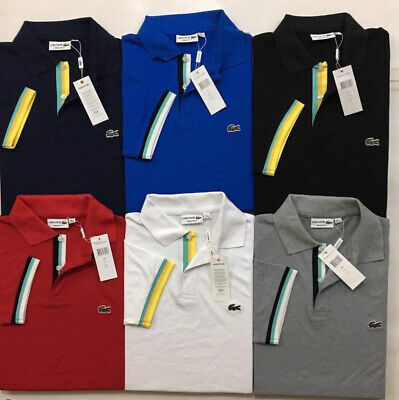 Lacoste Men's Polo Shirt Cotton Short Sleeves Classic Fit  with strips