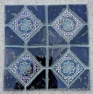 NEW BEAUTIFUL BLUE, WHITE, PINK CERAMIC MOSAIC TILE SHEETS.  FLOWER, 12 X 12.