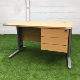 Rectangular desk 3 drawer fixed pedestal cheap