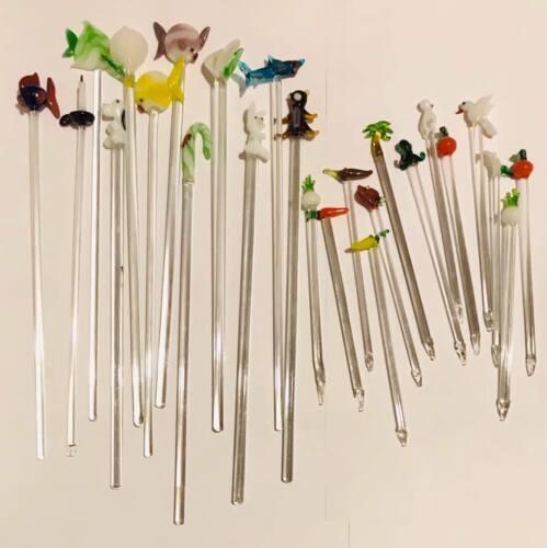 Lot of 20 Assorted Glass Swizzle Sticks Stir Cocktail Stirrers Blown Glass