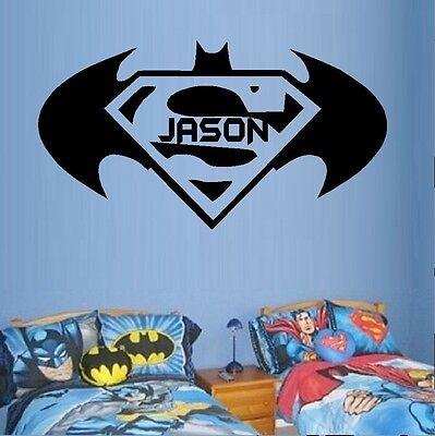 Super Hero  (Custom Name ) Batman ~ Superman. Wall or Window Decal](Super Hero Custom)