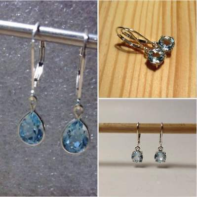 Sterling Silver Natural Sky Blue Topaz Dangle Earrings *Various Styles* ~5.50TCW Blue Topaz Leverback Earrings