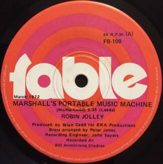 "MARSHALLS PORTABLE MUSIC MACHINE - 7"" single by ROBIN JOLLEY"