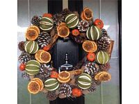 HOME MADE CHRISTMAS WREATHS DRIED FRUIT XMAS DECORATIONS BAUBLES XMAS TREE ORANGES GARLAND TINSEL