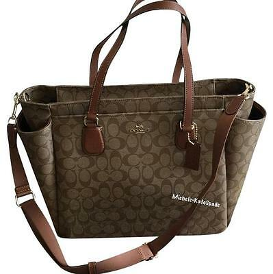 NWT COACH KHAKI / SADDLE Signature Multi-function Tote Diaper Bag F35414 $495