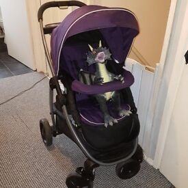 Graco Sky Stroller pushchair pram & car seat in purple, travel system . . really good condition