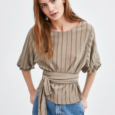ZARA Stripe Rustic Top With Puff Sleeves and Waist Tie Size S