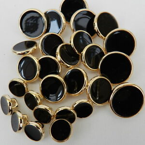 dress shirt buttons black with gold rim 8mm 10mm 15mm & 18mm shank ...