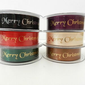 per-2-metres-green-or-red-Merry-Christmas-satin-ribbon-10mm-25mm
