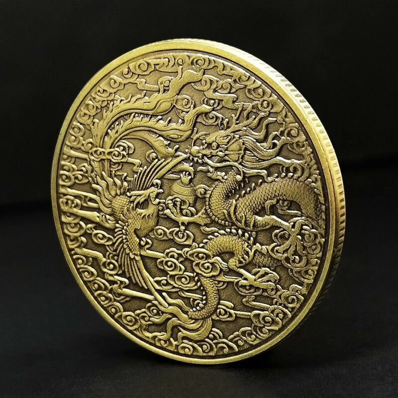 1 OZ  24 KT CHINESE FLYING DRAGON GOLD PLATED COIN