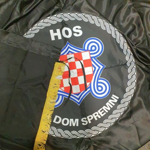 Croatian Flag w fringes 200x100cm - Historical Flag - HOS za Dom Spremni - B New