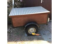 """Car trailer - steel frame with plywood box & lid approx 4ft x 3ft x 18"""" deep cw trailer board"""
