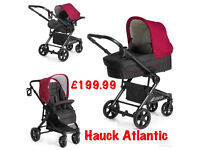 BRAND NEW IN BOX HAUCK ATLANTIC 3 IN 1 TRAVEL SYSTEM IN TANGO RED PRAM PUSHCHAIR PARENT FACING £199