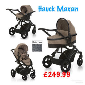 Brand new in box Hauck maxan parent facing 4 in 1 travel system pram pushchair BEIGE ISOFIX CAR SEAT