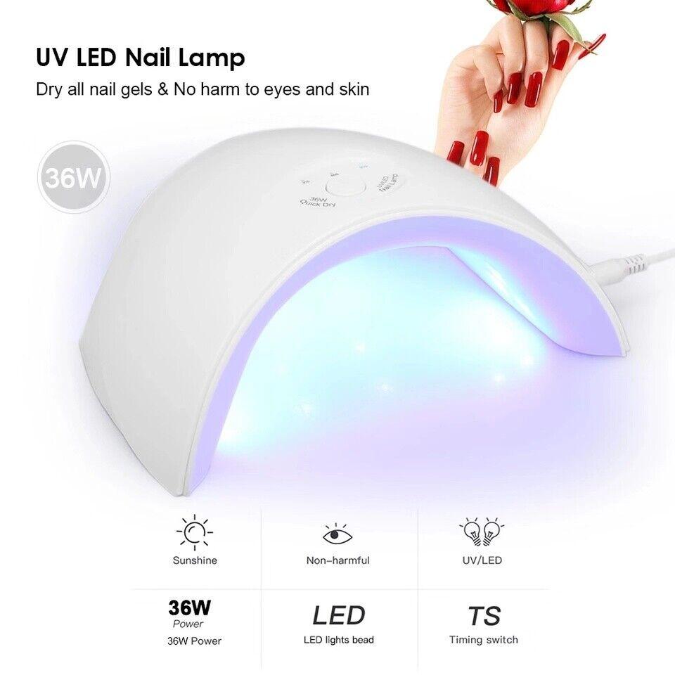 36W LED UV Nail Polish Dryer Lamp Gel Acrylic Curing Light S