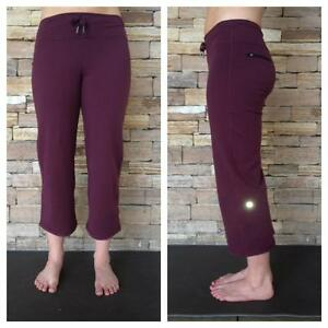 NWT LULULEMON RELAXED FIT CROP II Capri Yoga Fitness Pants 8 BORDEAUX DRAMA BRDR