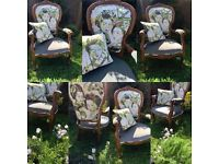 Pair of Beautifully Carved Maple Open Armchairs with shaped and carved backs