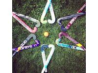 Hockey sticks and equipment