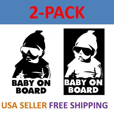 2-pack Baby On Board Carlos Funny Hangover Car Truck Window Sticker Vinyl Decal ()