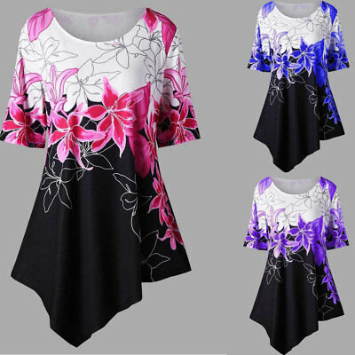 Women's Short Sleeve Floral Round Neck Butterfly Print Tunic Shirt  ()