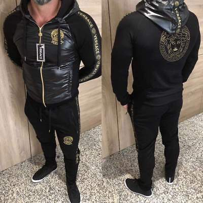 Men Versace Tracksuit Thin Hooded Jacket and Pants Long Sleeve Size S M L XL XXL - Hooded Jacket And Pants