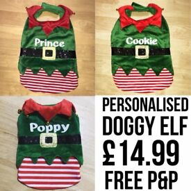 Personalised doggy elf outfit for christmas santas little helper gift present