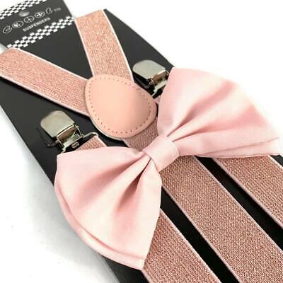 SUSPENDER & BOW TIE Matching SET Tuxedo Wedding Suit US SELLER Mix Glitter Blush - Glitter Bow Tie