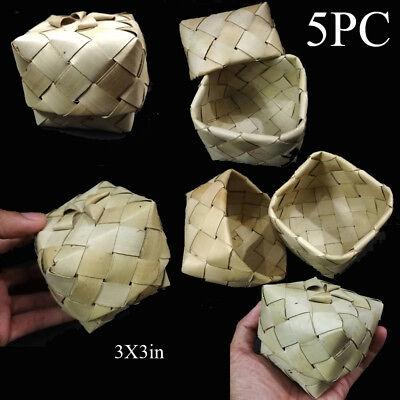 5 Sticky Rice Small Box Palm Leaf Vintage Basket 3x3in Put money Handmade weave