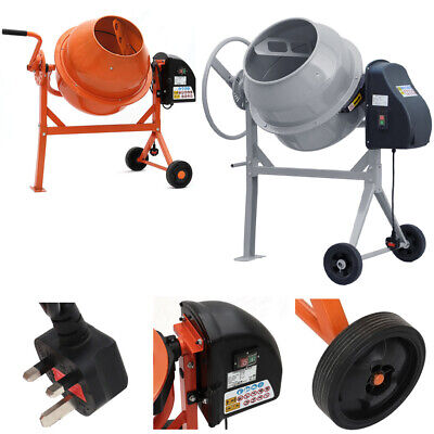 Cement Mixer Drum Concrete Mixing Machine Electric 140/120/63L Portable W Wheels