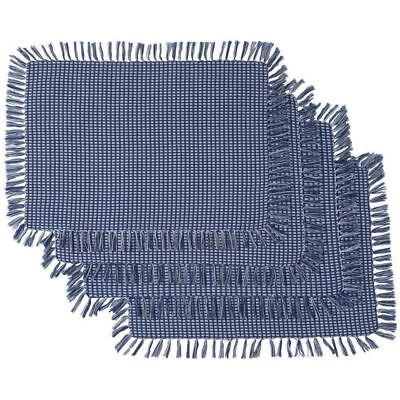 Woven Placemats (NEW Blue Homespun Check Woven Cotton Placemats Set of 4 Blue Homespun)