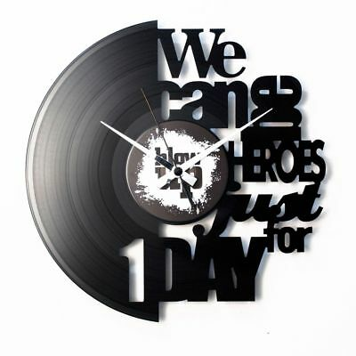 We Can Be Heroes Vinyl Record Wall Clock Home Decor Fan Art