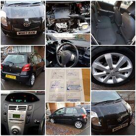 2007 07 Toyota Yaris 1.3 VVTi Petrol Black FSH Very Low Mileage