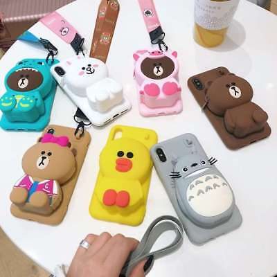 3D Sally Brown Bear Pikachu Wallet Soft Phone Case For iPhone X XS Max XR 6 7 8