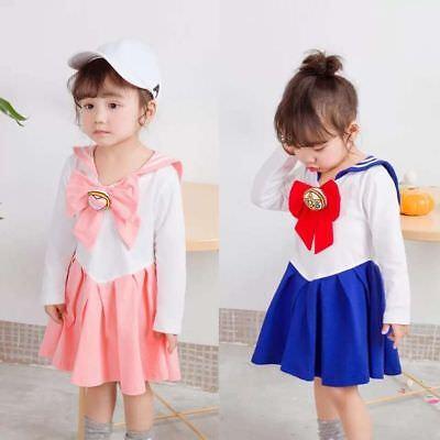 Japanese Anime Kid Baby Girls Sailor Moon Cosplay Bowknot Dress Kawaii Lolita